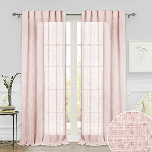 RYB HOME Farmhouse Window Curtains, Thick Fabric Sheer Panels Light Filter Drapery with Linen-Like Pattern, Voile for Patio Door/French Door/Wall Decor, 52 in x 108 in per Panel, 1 Pair, Pink