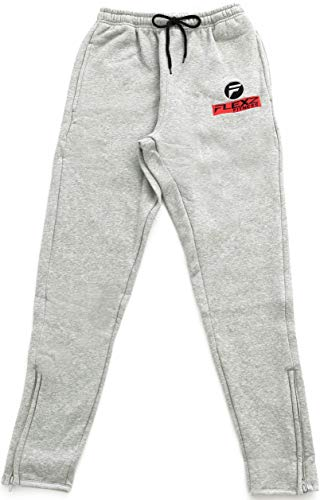 Flexz Fitness Gym Fitted Activewear Sweatpants, Bodybuilding & Lifting, Durable & Stylish, Gray, Size Large