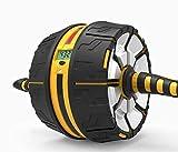 AplusT Rueda abdominal Auto-Retráctil para ejercicio abdominales - Ab Roller Wheel - con esterilla de rodilla - Rodillo con Pantalla digital que registra tiempo, repeticiones y calorías quemadas