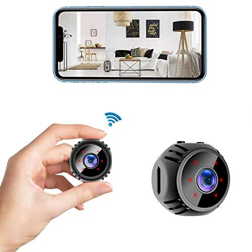Mini WiFi Camera Wireless Security Surveillance Cameras Micro Nanny Cam with Phone App Live Feed, Night Vision, Motion Detection for Home/Inddor/Outdoor
