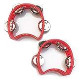 Bealuffe Tambourine Mini Hand Bell Percussion Musical Instrument Small Tambourine (Red 2 Pack)