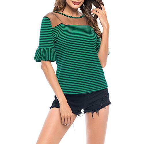 Camiseta Mujer Top Mujer Elegante Dulce Perspectiva Sexy Cuello Redondo Manga Corta Verano Cómodo Chic Trompeta Mangas Rayada Nueva Blusa Mujer B-Green L
