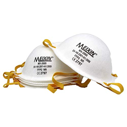 Meixin MX-2005 Atemschutzmaske FFP2 im 5er Set mit CE-Zertifikat – Hochwertige Atemmaske – Perfekt anpassbare Staubmaske – Feinstaubmaske, Staubschutzmaske gegen Feinstaub- von Promo-Dis GmbH