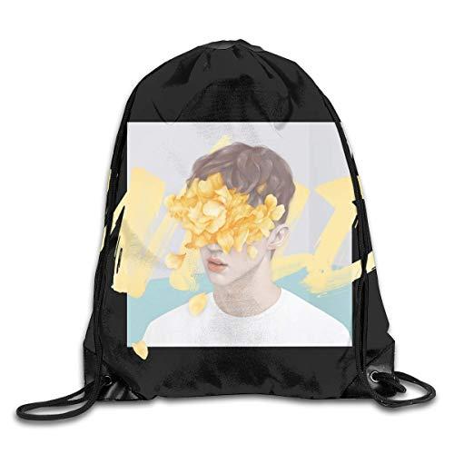 JHUIK Drawstring Bag Backpack,Troye Sivan Mode Sac à Dos Design épaule Sac à Cordon Homme Femme Sacs Blanc Taille Unique