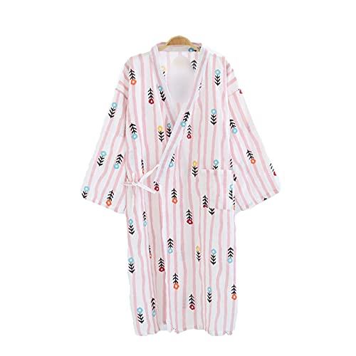 Bathrobe - Albornoz para mujer (algodón, para verano, para mujer, zurdos, delgado, suave, kimono) Flores de flores rosas M