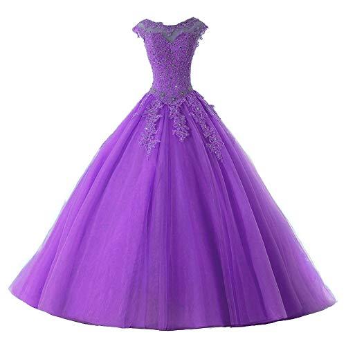 Ballkleider Lang Prinzessin Quinceanera Kleider Tülle Brautkleid Abendkleider A-Linie Partykleid Festkleider Purpur 32