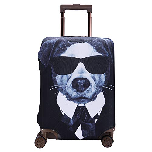 TOGEDI Luggage Cover Anti-scratch Baggage Cover Protector Washable Dust Thicken Elasticity Cover Travel for 18-32inch Luggage (Dog, S)