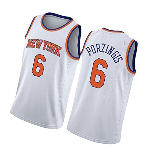 ZMQO Knícks 6# Pórzingís Camisetas de Baloncesto para Hombres y Mujeres, Malla Bordada, Secado rápido, S-XXL White-S