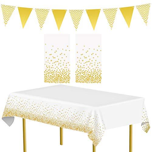 APERIL Lot de 2 nappes de fête en Or et 1 Drapeau Triangulaire Fournitures de fête Nappe à Pois dorés Couvre-Tables réutilisable pour Les fêtes en intérieur ou en extérieur