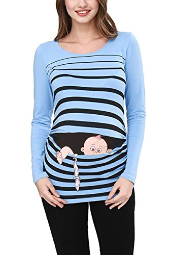 Fuga de bebé - Camiseta premamá Sudadera con Estampado Durante el Embarazo, Manga Larga (Azul Celeste, Medium)