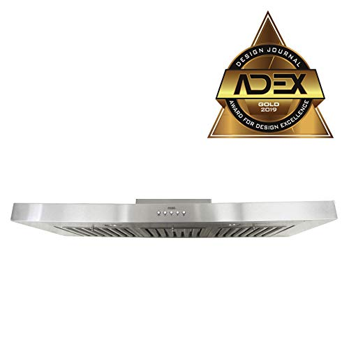 KOBE RAX2130SQB-1 Brillia 30-inch Under Cabinet Range Hood, 3-Speed, 750 CFM, LED Lights, Baffle Filters