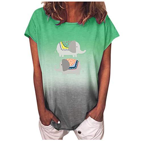 Qigxihkh ModeDamen Farbverlauf Sonnenblumendruck O-Ausschnitt Kurzarm T-Shirt Bluse Tops