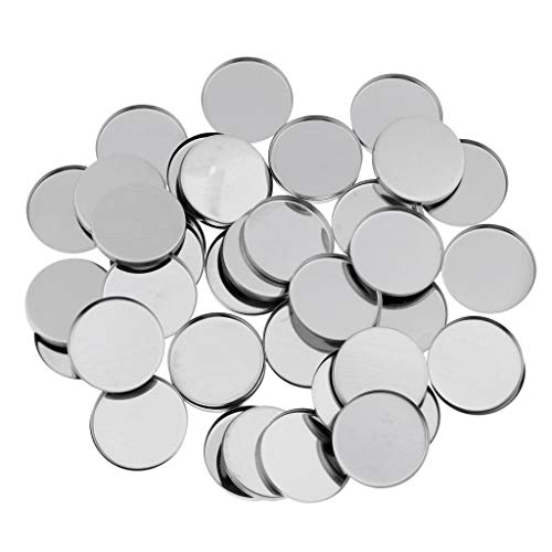 Healthcom 50 Pcs 36.5mm Empty Round Metal Tin Palette Pans Magnetic Makeup Palette Refillable Container for Cosmetic Eyeshadow Blush Lipstick Organizer Cosmetics Eyeshdow Blush Foundation Container