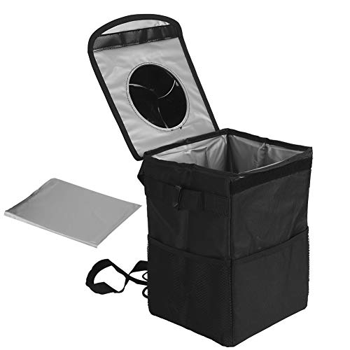 SOONHUA Bolsa de almacenamiento para coche, tela Oxford, impermeable, plegable, caja de almacenamiento para aislamiento de coche, tamaño grande, organizador a prueba de fugas, color negro