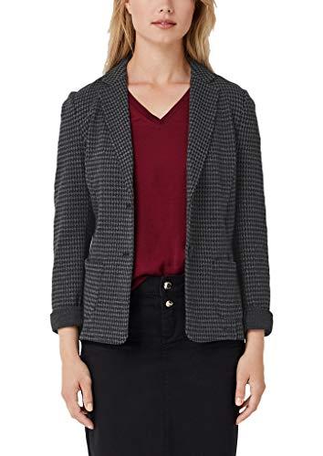 s.Oliver Damen 04.899.43.5352 Bluse, Grau (Grey/Black Dobby 98k0), (Herstellergröße: 44)