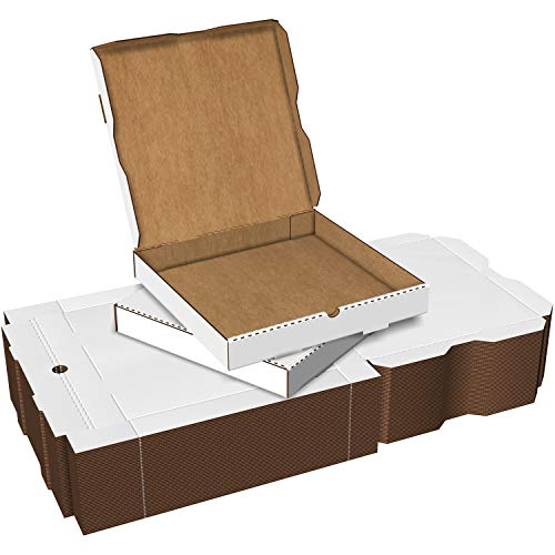 White Cardboard Pizza Boxes, Takeout Containers - 14 x 14 Pizza Box Size, Corrugated, Kraft – 50 Pack