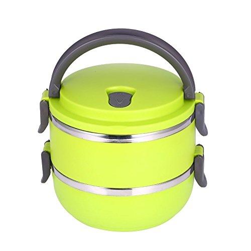 Fiambrera portátil de acero inoxidable con aislamiento térmico aislamiento interior de fugas prueba 1/2/3/4 compartimientos con contenedores de alimentos mango para alimentos (2 Layer, verde)