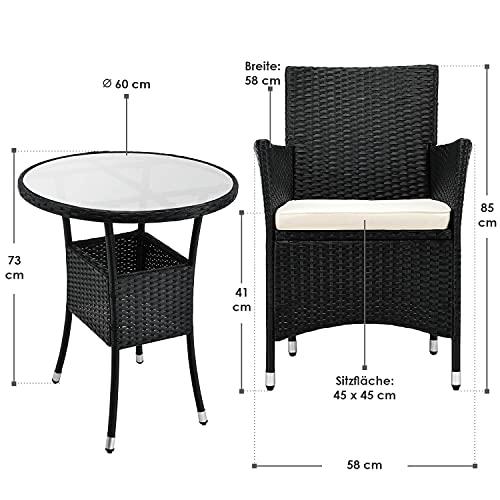 ArtLife Polyrattan Balkon Set Bayamo 2 Personen – Tisch mit Glasplatte & 2 Stühlen – Wetterfeste Balkonmöbel – Auflagen waschbar – schwarz – Creme - 2