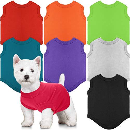 8 Piezas Camisas para Perros Ropa en Blanco para Mascota Cachorro Camiseta de Verano para Perros Camisa Lisa Suave Transpirable para Perros Ropa de Algodón de Perrito Traje para Mascota (M)
