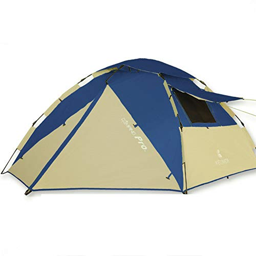 WLXW 3-4 Personen Vollautomatisches Outdoor-Campingzelt, Doppeltes, Regensicheres Sonnenschutz-Belüftungszelt, Camping, Garten, Angeln, Picknick,Darkblue