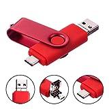Clé USB 32Go 3 en 1 Type-C Micro USB et USB 2.0 Pivotant Mémoire Stick Stockage Carte Flash Drive U Disque Design Pliable pour PC Tablette Smartphone (32Go, Rouge)