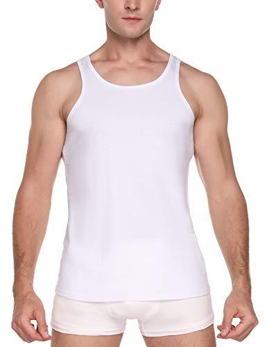 Sykooria - Camisetas de Tirantes para Hombre, Paquete de 1/2/3, Camiseta Clásica, Camisetas sin Mangas para Fitness, 100% Algodón, Cómodas, Negras, Blancas, Azul Marino y Todos los Tamaños