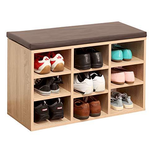 RICOO WM035-ES-B Schuhregal 79x49x30 cm Holz Eiche Sonoma Sitzbank mit Stauraum Schuhschrank mit Sitzkissen Schuhbank für Flur Schuhablage