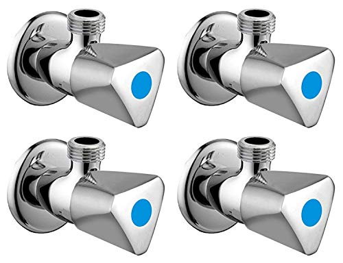 ZESTA Jazz Angle Valve Brass Disc Stop Cock for Bathroom Taps, Geyser and Wash Basin Connection with Flange (Chrome Finish, 4-Pieces)