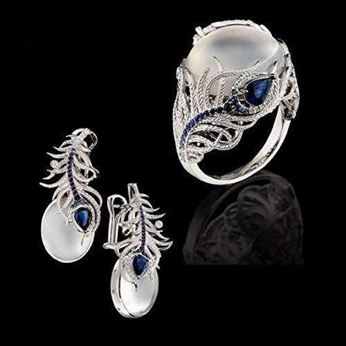 Conjunto de anillo y pendientes de piedra lunar con diseño floral, piedra lunar tesoro azul zafiro diamante joyas para mujer (#7)