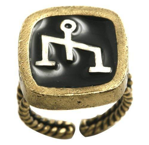 Konplott Fingerring Zodiac Sternzeichen Waage, brass-antik