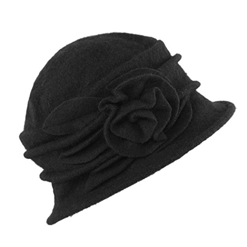 West See Damen Vintage Wolle Cloche Bucket Hut Beret Topfhut mit Blumendetail Wintermütze (schwarz)