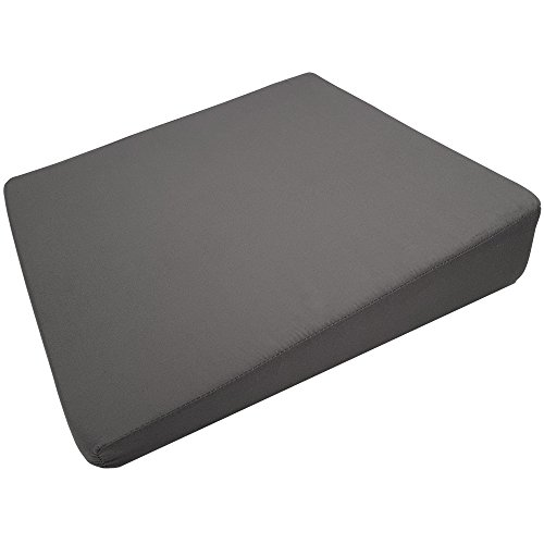 Orthopädisches Keilkissen 36 x 36 cm Sitz-Keilkissen in Grau mit Reißverschluss Stuhlkissen für ein angenehmes und aufrechtes Sitzen Sitzkissen Füllung aus weichem Schaumstoff abnehmbarer Bezug