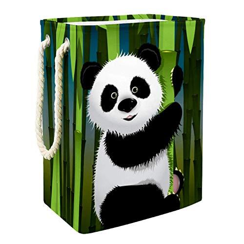 MUOOUM Curious Panda - Cesto plegable impermeable de 19.2 pulgadas, cesta de ropa sucia, cesta de almacenamiento de lino para colección de juguetes
