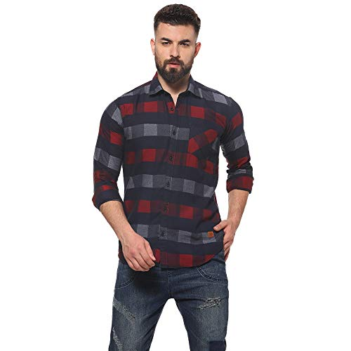 Campus Sutra Pure Cotton Curved Hemline with Checkered Casual Shirt – for Men