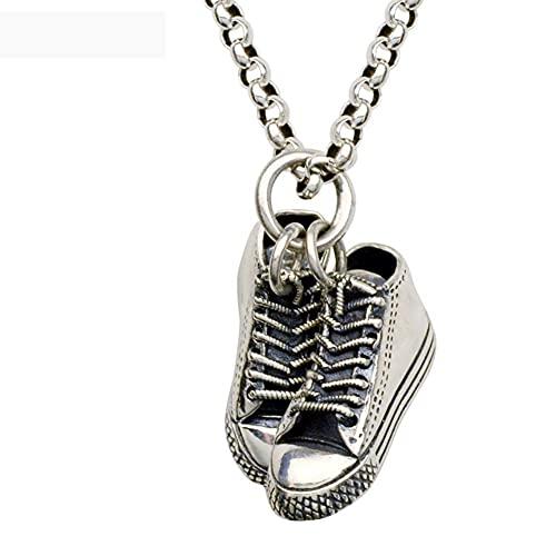 AMOZ Collar de Zapato Deportivo Colgante de Zapato Runnig Personalizado de Plata de Ley, Regalo para Corredor,Cadena de Plata de 17,7 Pulgadas