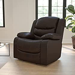 Flash Furniture Plush Brown Leather Lever Rocker Recliner with Padded Arms- best home chair for lower back pain