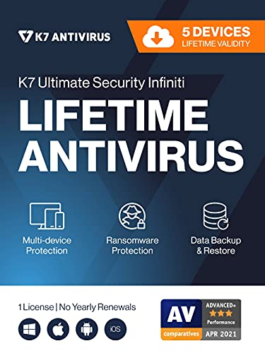 K7 Ultimate Security Infiniti Antivirus 2021| Lifetime Validity, 5 Devices|Threat Protection,Internet Security,Data…