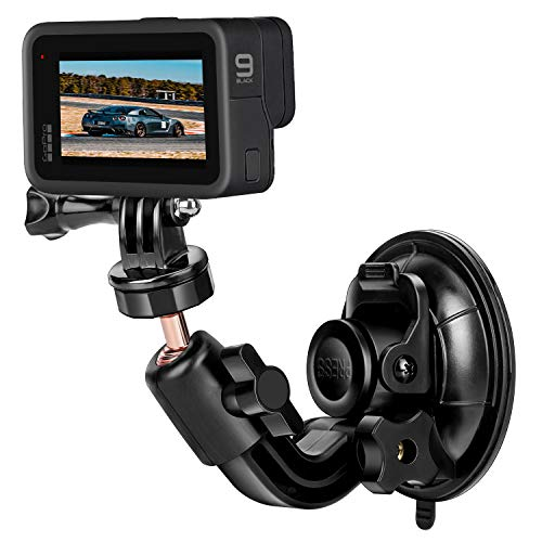 MiPremium Car Suction Cup Mount for GoPro Hero 9 8 7 6 5 4 3 3+ 2 Session Black Silver XIAOYI 4K SJCAM Yi Sports Action Camera Dash Cam Holder Perfect for Boats Vehicle Windshield & Window
