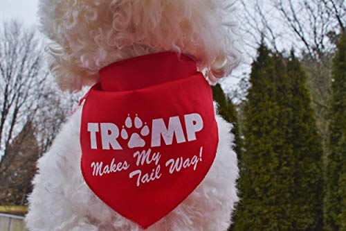 Custom Handmade TRUMP Makes My Tail Wag Bandana Tie-on Style MAGA Pet Scarf for Trump Supporters, Large Sizes for Medium and Large Breeds, Made in USA