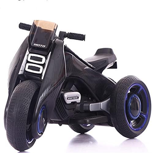 Gmjay Juguete de Motocicleta Eléctrica para Niños, Juguetes de Triciclo de Moto de 3 Ruedas con Luces LED MP3 para Niños Pequeños,Black