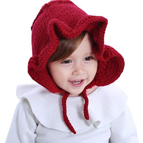 Bambin-Filles Dentelle-Up-Tricoter Ébouriffé-Bonnet Bébé-Chapeaux - Royal Princesse De dentelle Hiver Casquette Fit 1-5 Ans