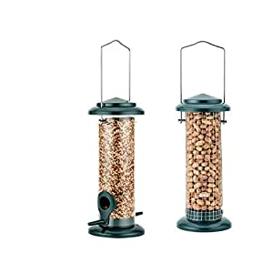 iBorn Bird Feeder Mini Feeder with Hanger for Wild Birds Seed Feeder Peanut Feeder, Mixed Seed Blends, Anti-UV Cooper Paint-Finishing, Pack of 2 (Mini Seed & Nut Feeders)