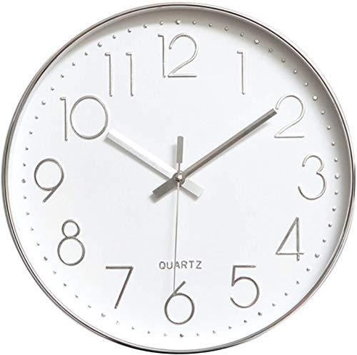 Lisedeer Reloj de Pared Redondo Moderno de Cuarzo silencioso de 30 cm sin Tic TAC, para Oficina, hogar, Escuela (Plateado, 30 cm) …