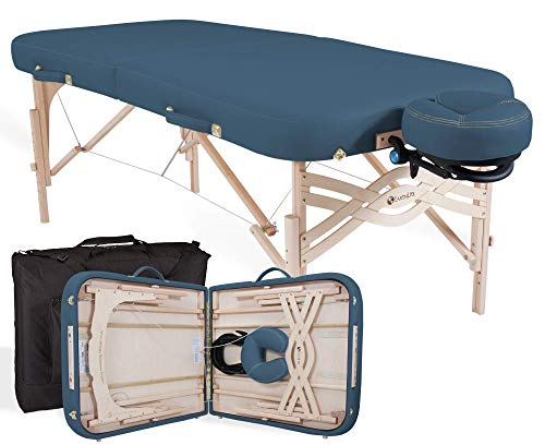 """EARTHLITE Premium Portable Massage Table Package SPIRIT - Spa-Level Comfort, Deluxe Cushioning incl. Flex-Rest Face Cradle & Strata Face Pillow, Carry Case (30/32"""" x 73"""") - Made in USA, Mystic Blue"""