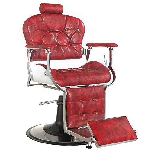 Gabbiano PREMIER - Poltrona da barbiere Poltrona reclinabile idraulica Salone di bellezza, colore: rosso