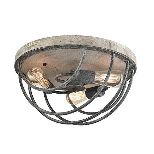 CLAXY Wooden Celing Light Etched Metal 3 Light Flush Mount Ceiling Light Fixture