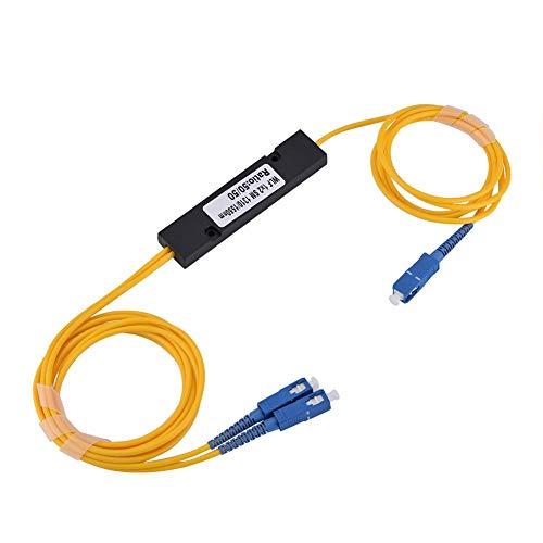 Glasvezel splitter, 1 tot 2 singlemode SC Laag invoegverlies Conische optische splitter voor FTTX/Industrial Medical Network, verlengkabel voor glasvezel splitter met SC-SC aansluiting