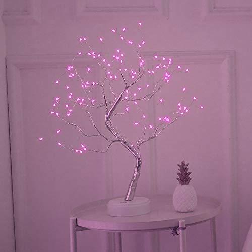 Arbre lumineux LED, SUNJULY LED USB Lampe de Table 3D avec Adaptateur Secteur pour Maison de Vacances Chambre Intérieure Chambre Denfants, Rose