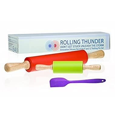 Rolling Pin - Form Meets Function with Professional Nonstick Rolling Pins. 2 Piece Cookie Rolling Pin with Extra Silicone Spatula