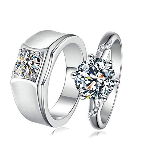 Aeici 2pcs His Hers Matching Ring Sets for Him and Her Comfort Fit Size 7